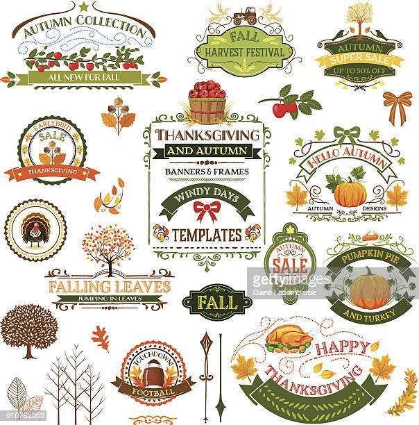 fall labels and ornaments - agricultural fair stock illustrations, clip art, cartoons, & icons
