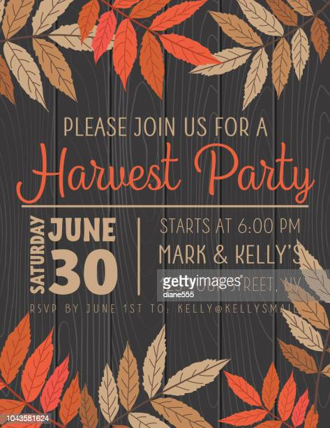 fall leaves harvest party invitation template - harvesting stock illustrations