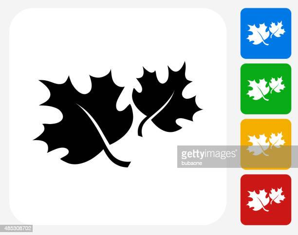 Caída de hojas de arce de iconos planos de diseño gráfico
