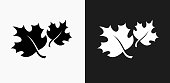 Fall Maple Leaves Icon on Black and White Vector Backgrounds