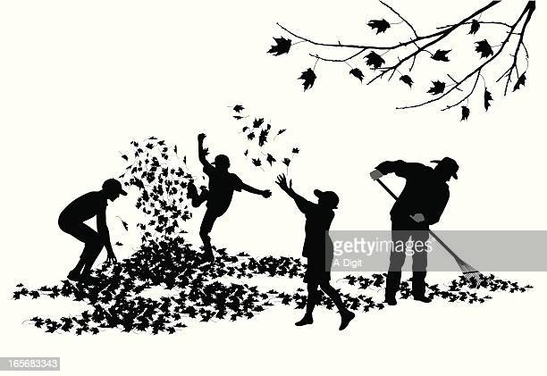 fall playing vector silhouette - raking leaves stock illustrations, clip art, cartoons, & icons