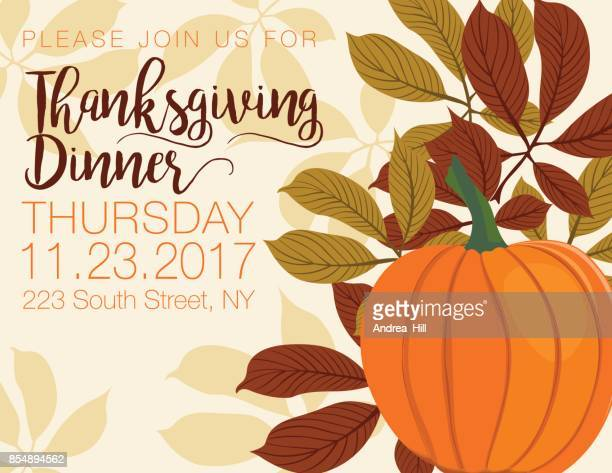 fall pumpkin background with autumn leaves, thanksgiving dinner invitation - thanksgiving holiday stock illustrations, clip art, cartoons, & icons