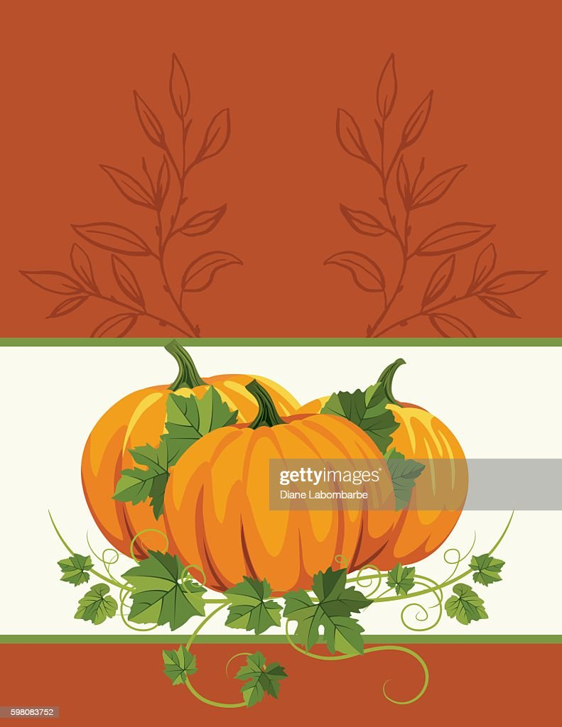 Fall Pumpkins Background Template Vector Art | Getty Images
