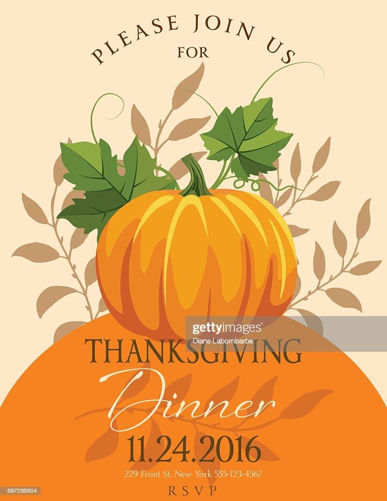 fall pumpkins thanksgiving dinner invitation template vector art