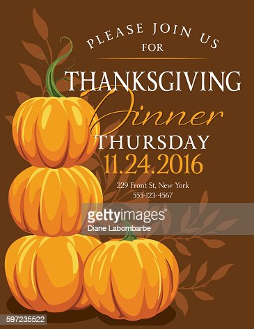Fall pumpkins thanksgiving dinner invitation template vector art similar images stopboris Gallery