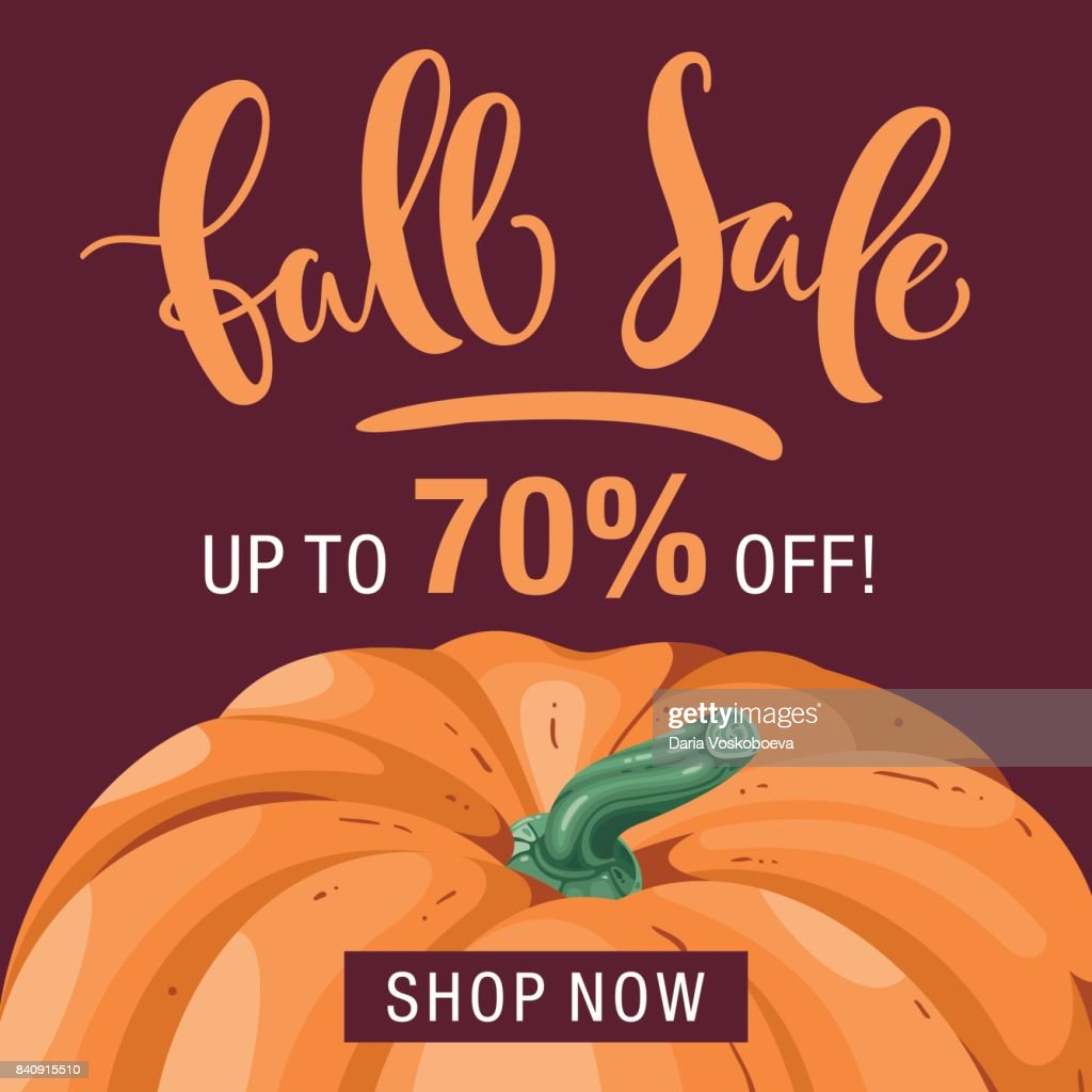 Fall season discount layout with pumpkin. Autumn sale template with lettering.