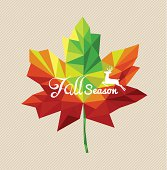 Fall season text over geometric composition leaf autumn concept illustration.
