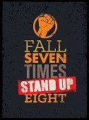 Fall Seven Times Stand Up Eight Motivation Quote