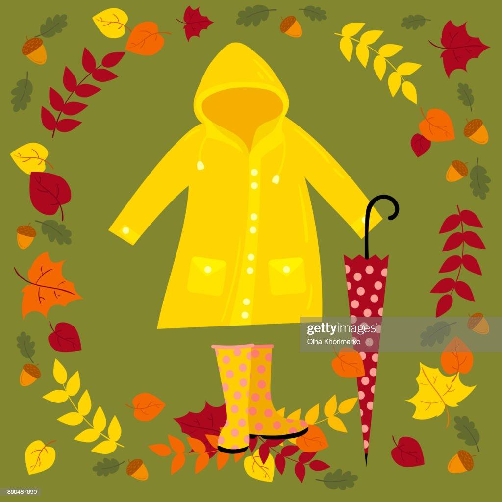 Fall vector illustration. Warm autumn set