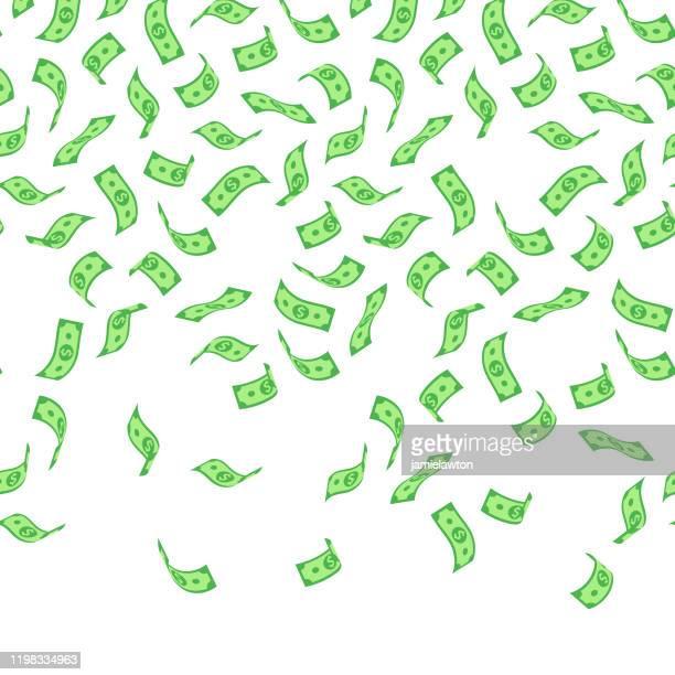 falling american dollar bills seamless pattern on white background - lottery stock illustrations