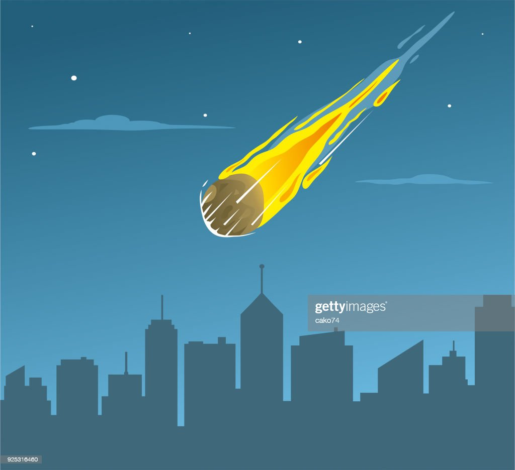 Falling asteroid on city : stock illustration