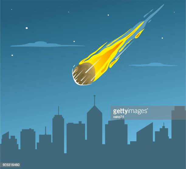 Falling asteroid on city