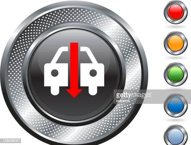 falling auto sales royalty free vector art on metallic button