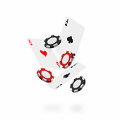 Falling cards and chips. Falling poker aces with realistic casino chips isolated on white background