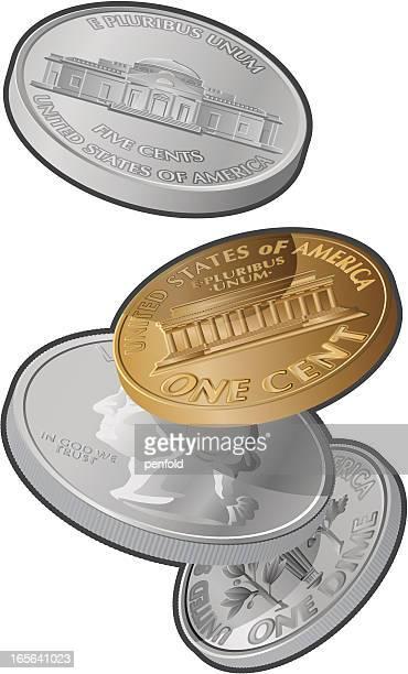 falling の硬貨 - 5セントコイン点のイラスト素材/クリップアート素材/マンガ素材/アイコン素材