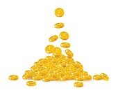 Falling gold Chinese yuan or Japanese yen cartoon isolated