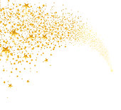 Falling golden stars, dust. Shooting star with rounded trail isolated on white