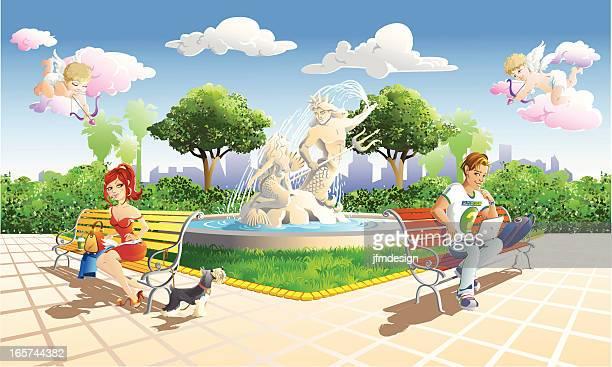 falling in love at the park - cherub stock illustrations