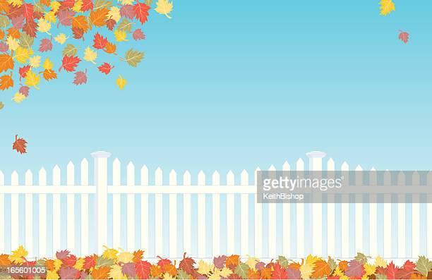 Falling Leaves - Fall Autumn Fence