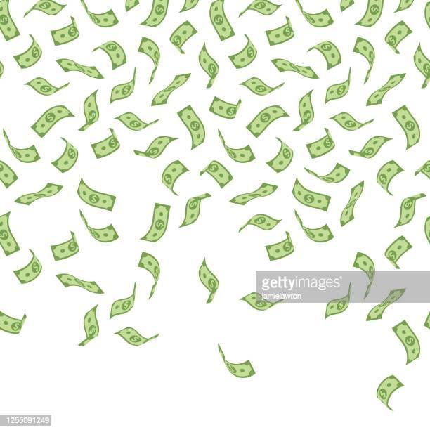 illustrazioni stock, clip art, cartoni animati e icone di tendenza di falling money - modello senza soluzione di continuità con banconote in dollari americani su sfondo bianco - simbolo del dollaro