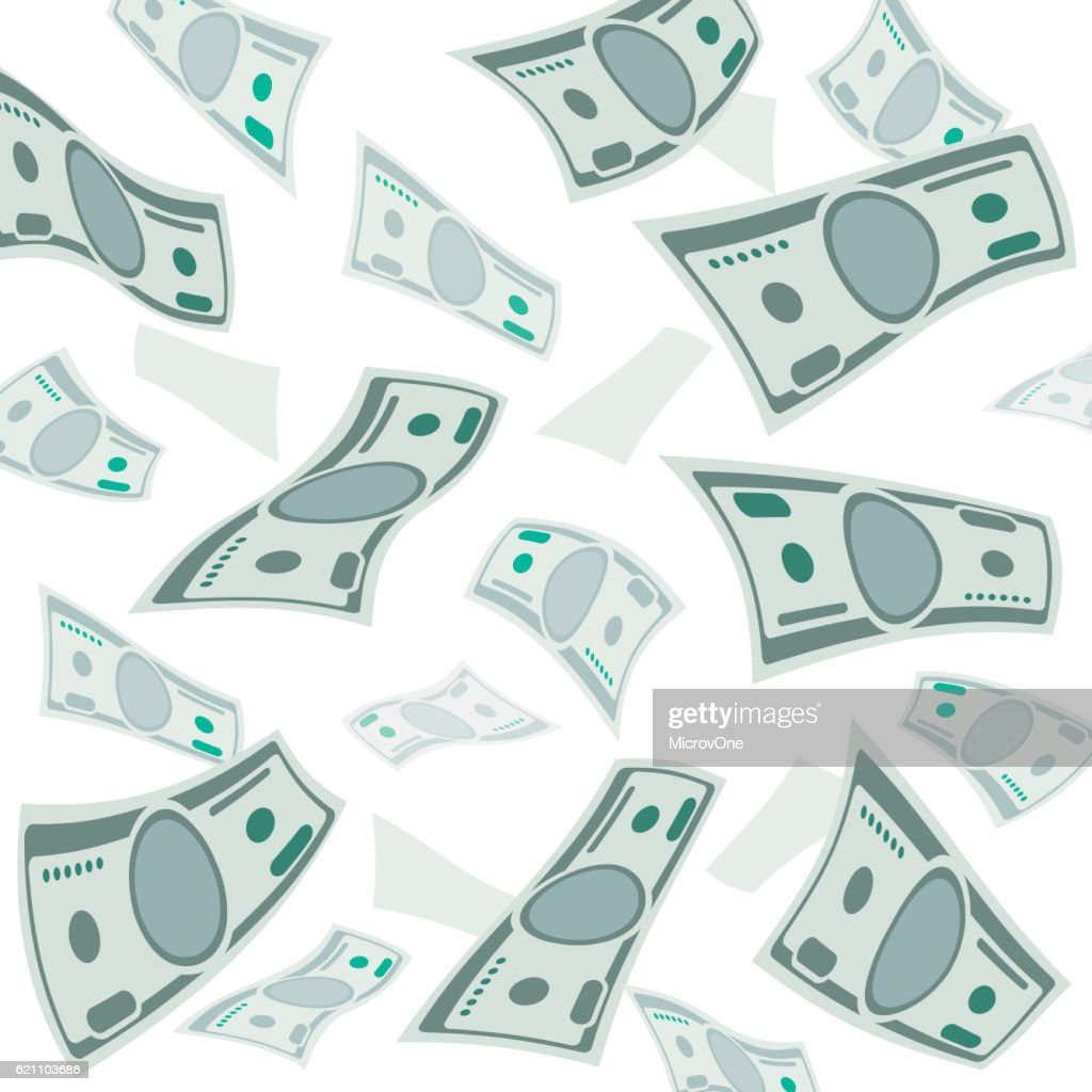 Falling money, usa currency banknotes vector background