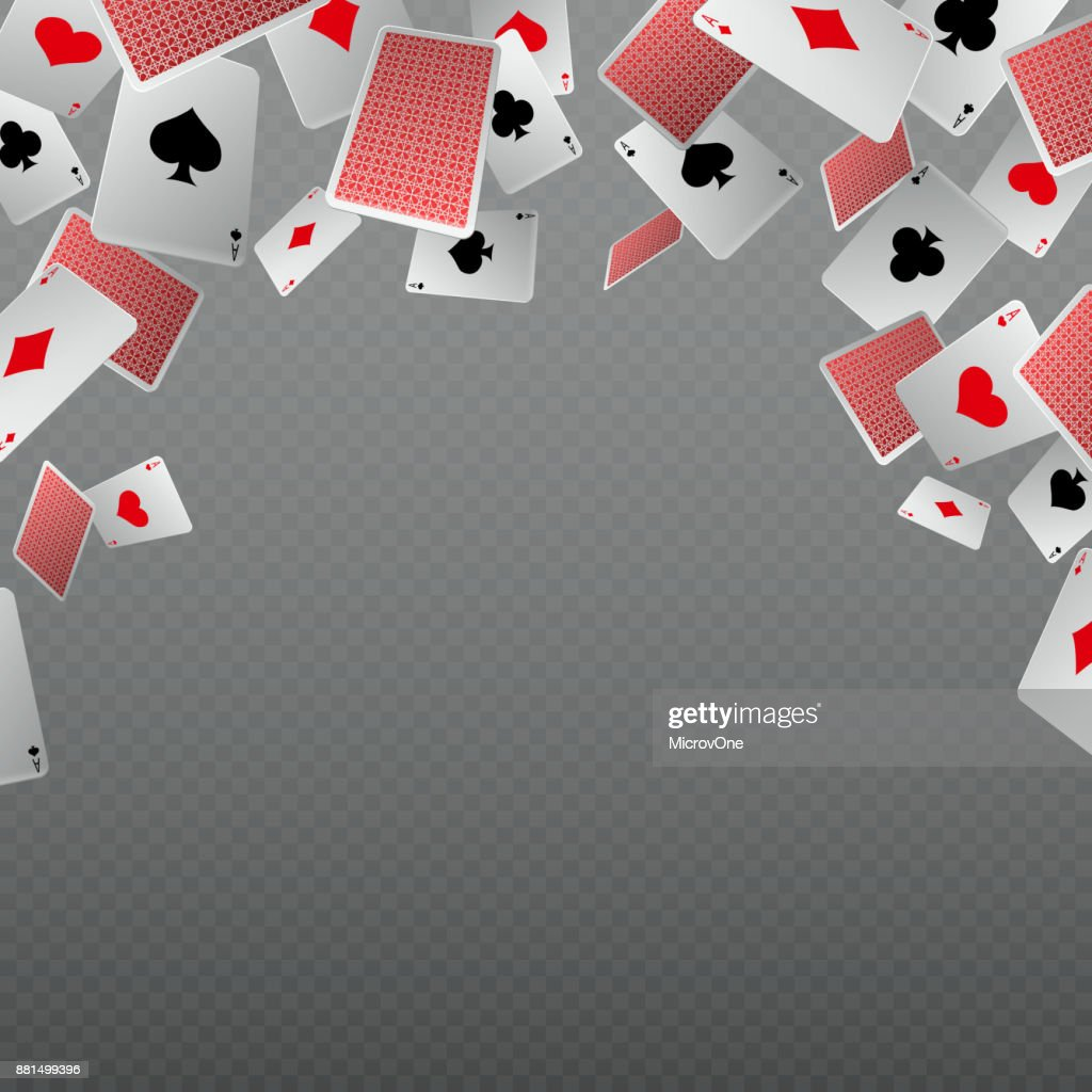 Falling playing cards isolate. Vector template for casino and gambling concept
