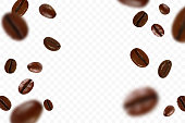 Falling realistic coffee beans isolated on transparent background. Flying defocusing coffee grains. Applicable for cafe advertising, package, menu design. Vector illustration.