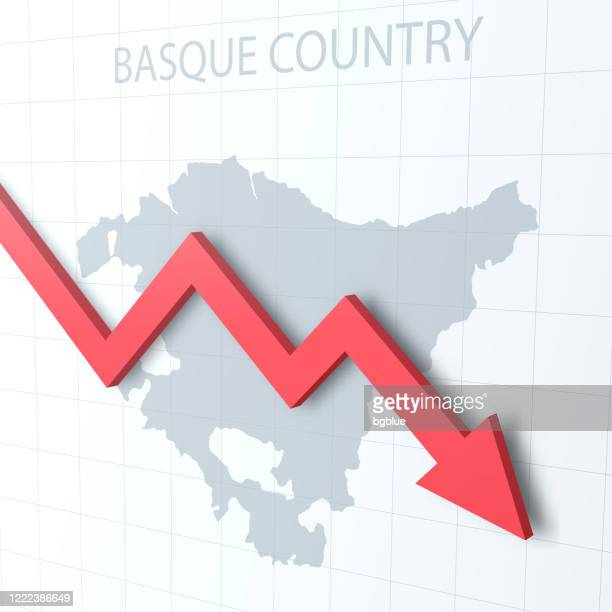 falling red arrow with the basque country map on the background - en búsqueda stock illustrations