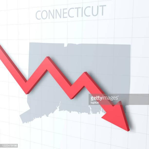 背景にコネチカット州の地図を持つ赤い矢印の下向き - コネチカット州ハートフォード点のイラスト素材/クリップアート素材/マンガ素材/アイコン素材