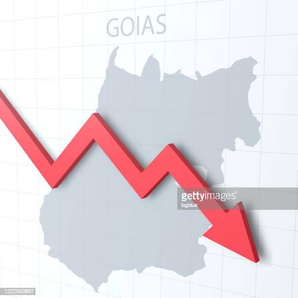 背景にゴイアスマップと赤い矢印を落ちる - ゴイアス州点のイラスト素材/クリップアート素材/マンガ素材/アイコン素材