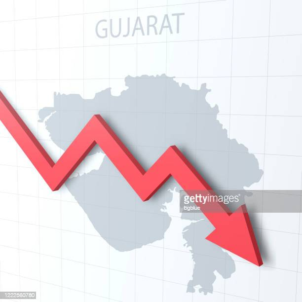 falling red arrow with the gujarat map on the background - gujarat stock illustrations