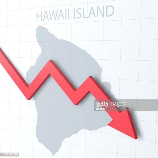 fallender roter pfeil mit der hawaii-inselkarte im hintergrund - hawaii inselgruppe stock-grafiken, -clipart, -cartoons und -symbole