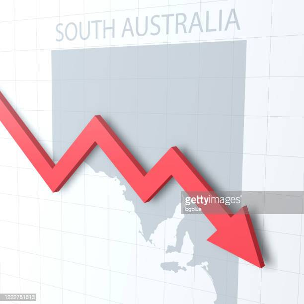 falling red arrow with the south australia map on the background - adelaide market stock illustrations