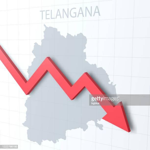 背景にテランガナマップと赤い矢印を落ちる - テランガナ州点のイラスト素材/クリップアート素材/マンガ素材/アイコン素材