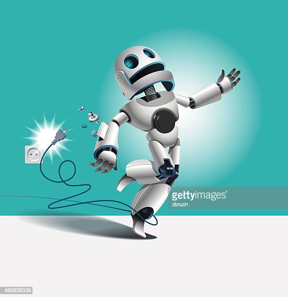 falling robot - telephone line stock illustrations, clip art, cartoons, & icons