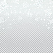 Falling snow backdrop on transparent background.