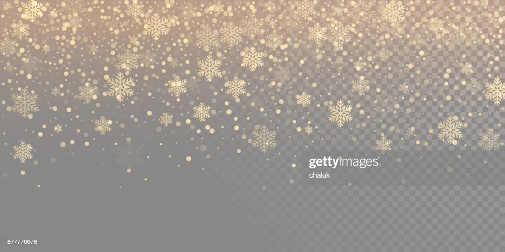 Falling snow flake golden pattern background. Gold snowfall overlay texture isolated on transparent white background. Winter Xmas snowflake elementsfor Christmas of New Year holiday design template