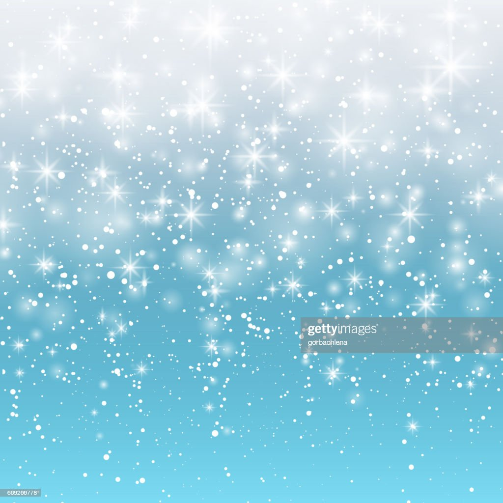 Falling snow on a blue background. Vector illustration 10 EPS. Abstract white glitter snowflake background. Magic Christmas eve snowfall.