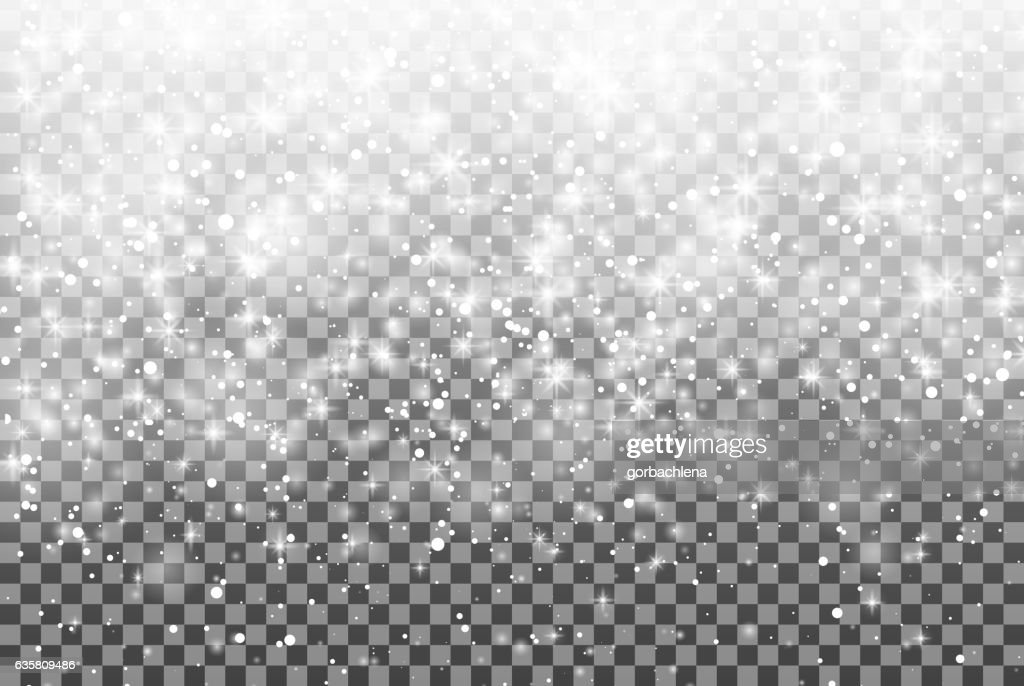 Falling snow over transparent background. glitter snowflake Fall snow. Christmas.