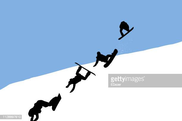 falling snowboarder - winter sports event stock illustrations