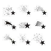 Falling stars vector set. Simple icons of meteorites and comets. Shooting stars with different tails.