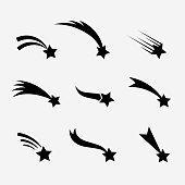 Falling stars vector set