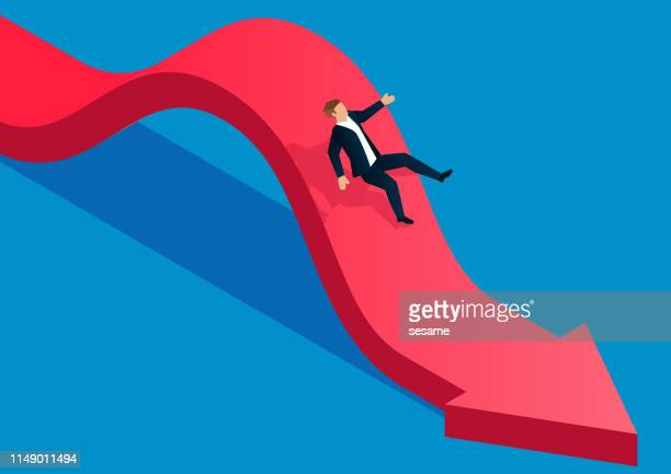 falling, the businessman fell from the arrow - weakness stock illustrations