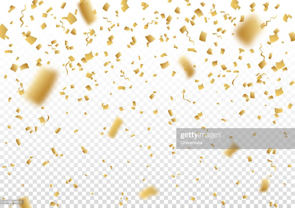 Falling vector confetti on transparent background.