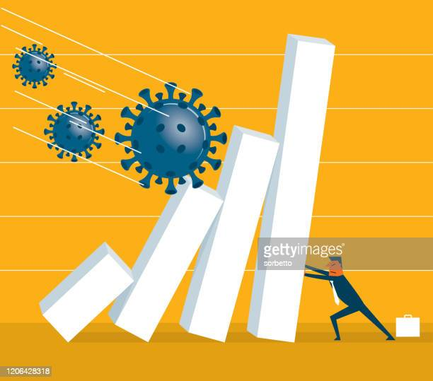 falling - viruses - economy stock illustrations