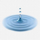 Falling water drop vector transparent realistic illustration