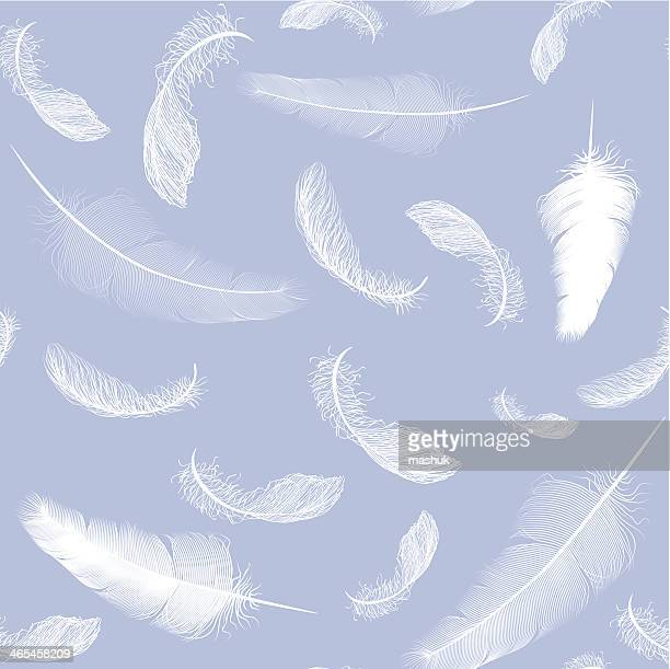 Falling white feathers against a lilac backdrop