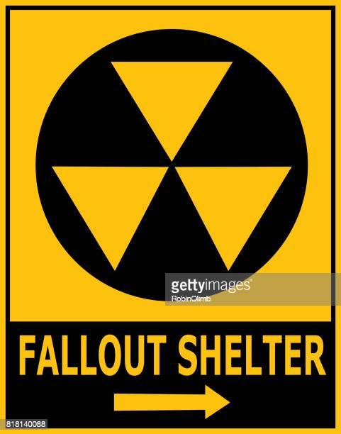 fallout shelter sign - radioactive contamination stock illustrations