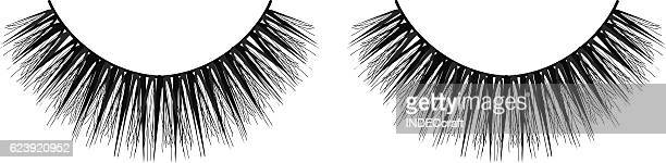 ilustraciones, imágenes clip art, dibujos animados e iconos de stock de false eyelashes - maquillaje para ojos
