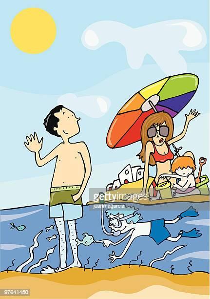 ilustraciones, imágenes clip art, dibujos animados e iconos de stock de playa de la de familia de vacaciones en - salina estado natural de terreno